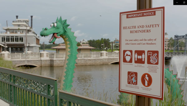The Lego dragon seems to be social distancing. Photo credits (C) Disney Enterprises, Inc. All Rights Reserved