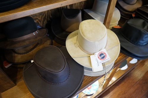 The store features hats for men and ladies.