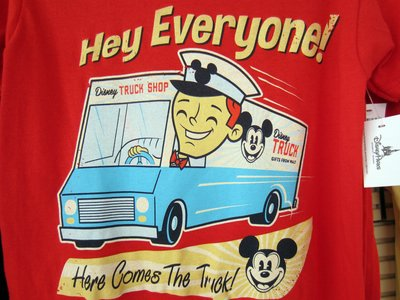 "This t-shirt with ""Here comes the truck"" was for sale."
