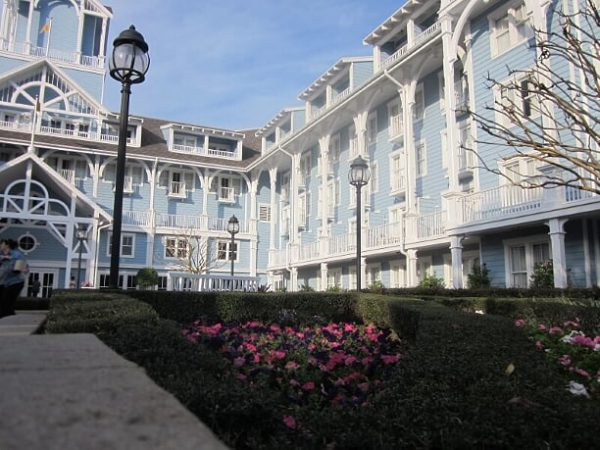 Opting with the pale blue and white exterior Disney's Beach Club distinguishes itself from its sister resort, Disney's Yacht Club.