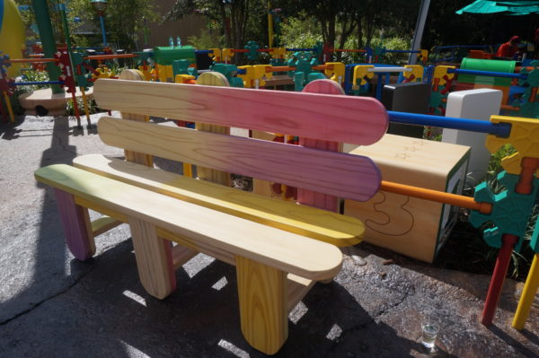 Disney built these cool popsicle stick benches to the new Toy Story Land.