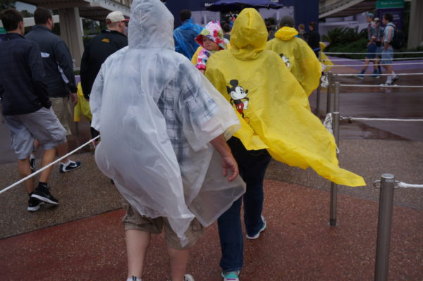 Do you remember the bright yellow rain ponchos? They were replaced with similar looking clear ones.