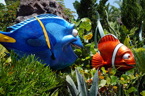 Dory plays a role in the fun show, Turtle Talk with Crush.