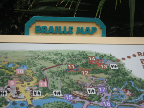 Braille Maps are available throughout the parks for those who are visually impaired.