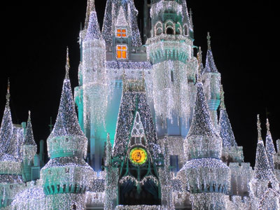 A close up view shows the thousands of lights that decorate The Castle.