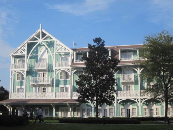 Disney's Beach Club Villas have a perfectly blue hue invoking beachy memories!