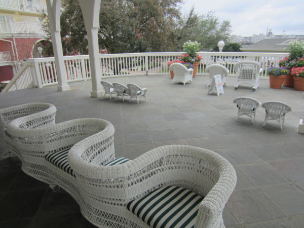 The Boardwalk Inn has an old-world charm as exemplified in this courting bench on a beautiful patio.