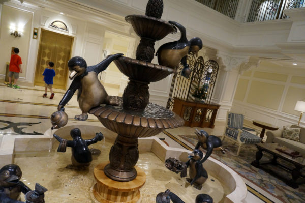 These playful penguins welcome you to the villas at the Grand Floridian Resort Hotel and Spa.