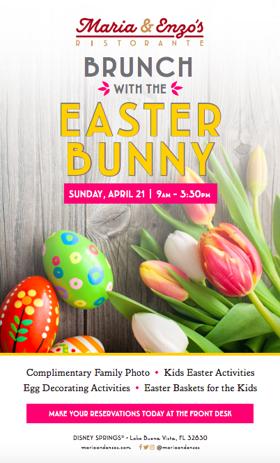 Maria & Enzos is hosting brunch with the Easter Bunny on Easter Sunday!