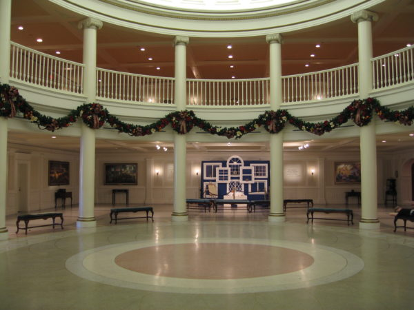 The Voices of Liberty singers perform in this acoustically-perfect rotunda inside The American Adventure.