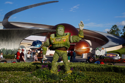 Buzz Lightyear looks right at home near Mission: Space.