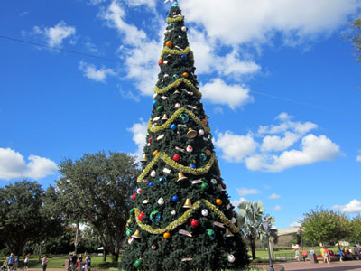 You can see this huge Christmas tree near the entrance to World Showcase.