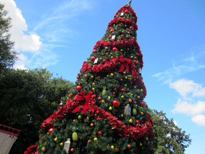 Here is a huge Christmas tree in Santa's Village near the American Adventure.