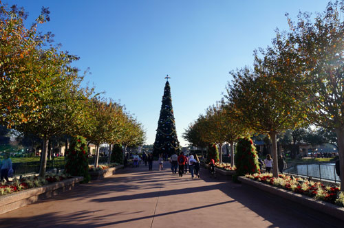 There is a huge Christmas tree that towers above the entrance to World Showcase.