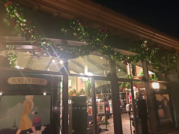 As with many of other shops, Port of Entry is decorated with garland.