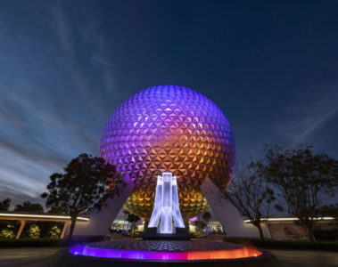 Epcot entrance fountain. Photo credits (C) Disney Enterprises, Inc. All Rights Reserved