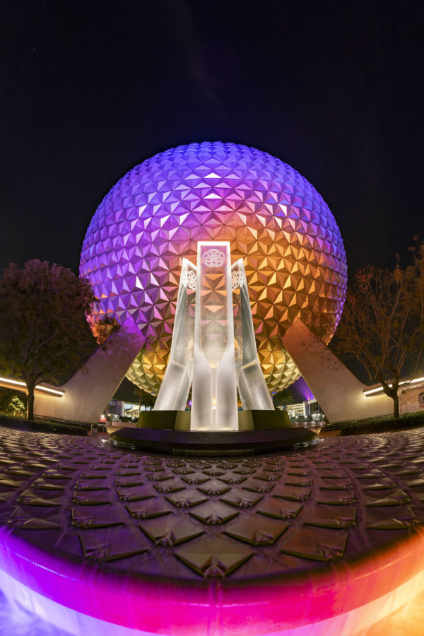 The pylons draw the eye up and to Spaceship Earth. Photo credits (C) Disney Enterprises, Inc. All Rights Reserved