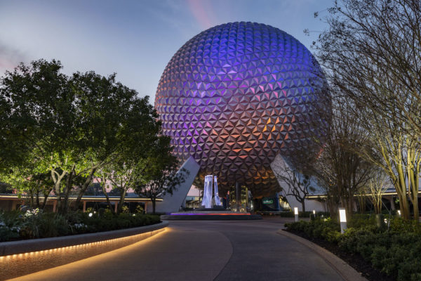 The new EPCOT entrance includes new planters and landscaping. Photo credits (C) Disney Enterprises, Inc. All Rights Reserved