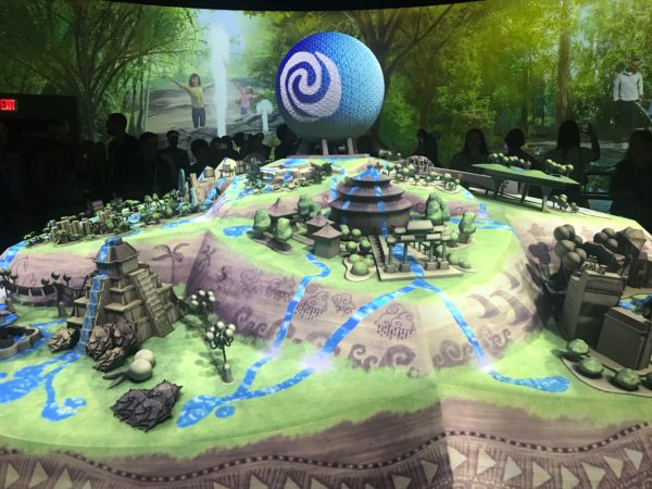 Projection effects change the look and feel of the physical model that dominates the Epcot Experience Center.