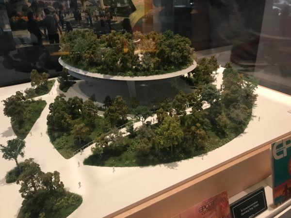 This model shows the dramatic, multi-level circular building that will be home to Epcot's festivals in the future.