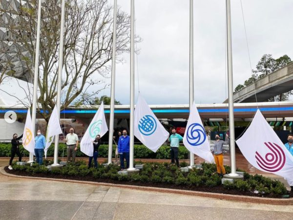 The flags reflect the logos of the park's pavilions.  New flags at EPCOT!  Photo credits (C) Disney Enterprises, Inc. / Instagram. All Rights Reserved
