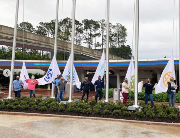 The design points back to the original EPCOT graphics.  New flags at EPCOT!  Photo credits (C) Disney Enterprises, Inc. / Instagram. All Rights Reserved