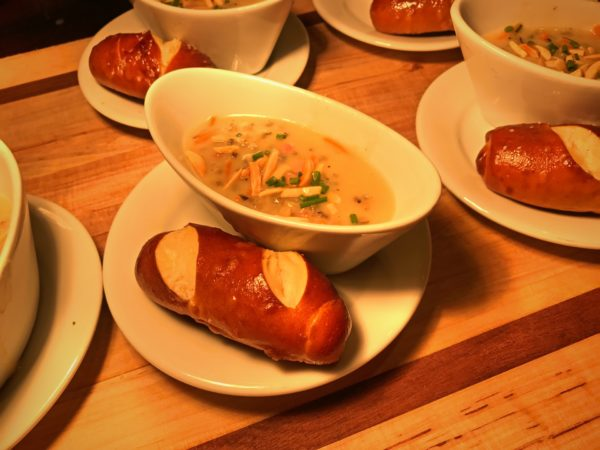 Canadian Wild Rice and Ham Soup with Almonds, served with a Pretzel Roll. Featured at the Yukon Marketplace.