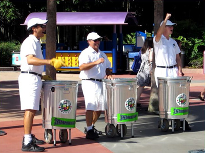 The Epcot JaMMitors make music with trash cans.