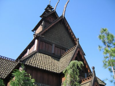 The iconic Stave church at the entrance to the Norway pavilion.