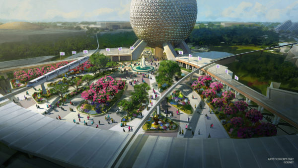 In this artist rendering, a new entrance plaza in development at Epcot will greet guests with new pathways, sweeping green spaces and a reimagined fountain. This design will pay homage to the original park entrance with fresh takes on classic elements. (Disney) Photo credits (C) Disney Enterprises, Inc. All Rights Reserved