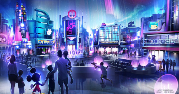 In this artist rendering, a new play pavilion in development at Epcot will include first-of-their-kind experiences devoted to playful fun, inviting guests into an innovative city bursting with interactive experiences and hands-on activities. Friends and family will interact with favorite Disney characters in an energetic metropolis unlike anything ever seen before at Epcot. The as-yet-unnamed space will debut to guests in time for the Walt Disney World 50th anniversary. (Disney) Photo credits (C) Disney Enterprises, Inc. All Rights Reserved