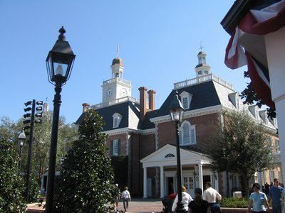 The buildings in the Epcot United States Pavilion are impressive.
