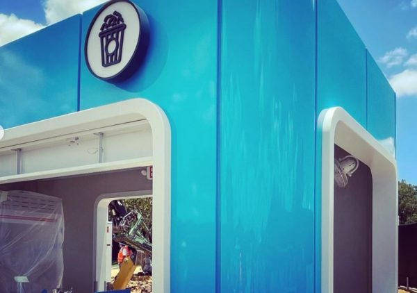 This new popcorn kiosk in bright blue shows off the new EPCOT World Celebration design style. Photo credits (C) Disney Enterprises, Inc. All Rights Reserved