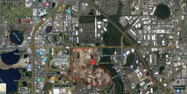 Universal has already acquired and cleared the land for it's Epic Universe theme park. Photo credits (C) Google Maps. All Rights Reserved