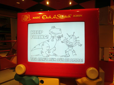 Etch-A-Sketch in Toy Story Mania queue.