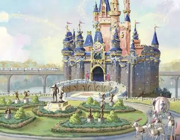 """Concept art on the cover of """"A Portrait of Walt Disney World: 50 Years of the Most Magical Place on Earth"""" suggests the Fab 50 statues to be installed in the Magic Kingdom.  Photo credits (C) Disney Enterprises, Inc. All Rights Reserved"""