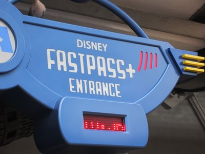 FastPass + entrance at Monsters Inc Laugh Floor.