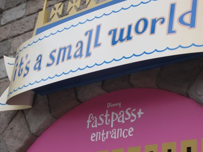 FastPass + entrance at it's a small world.