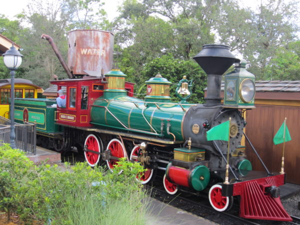 This is the Roger E. Broggie steam train at the Fantasyland Station.
