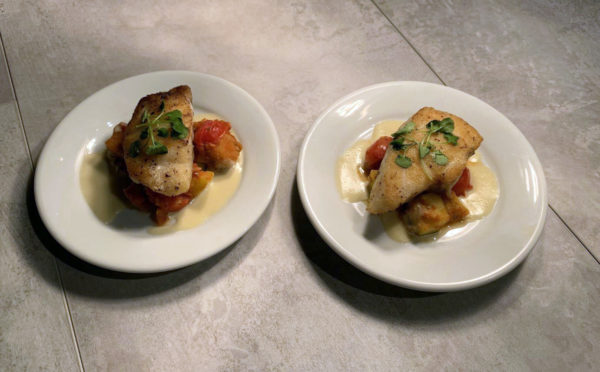 Cuisine Classique - Seared corvina with braised ratatouille and lemon-thyme beurre blanc.