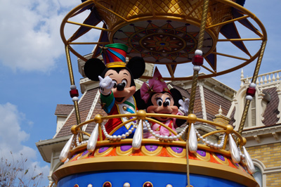 Mickey and Minnie in a hot air balloon.