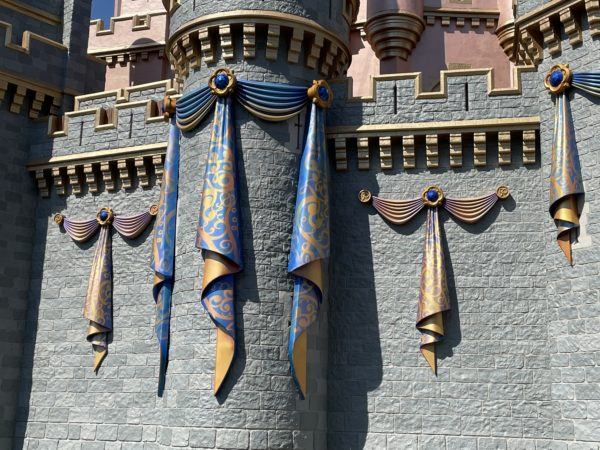 The bunting adds some fun flair to the castle.