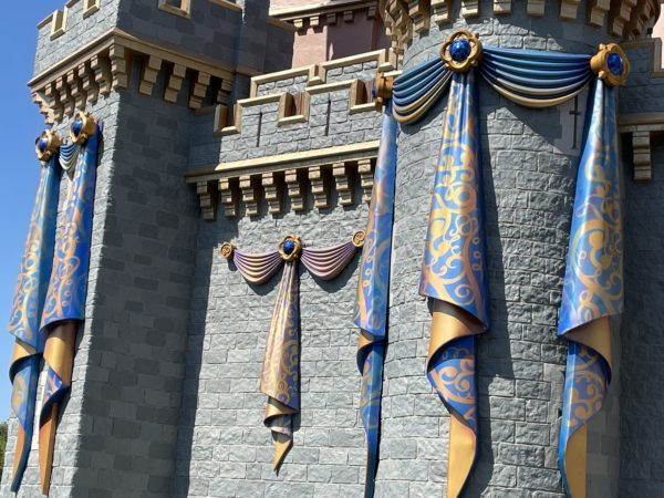 The decorations feature blue, gold, and purple colors that are the theme of the anniversary.