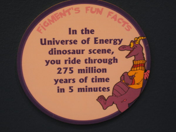 "Figment says, ""In the Universe of Energy dinosaur scene, you ride through 275 million years of time in 5 minutes."""