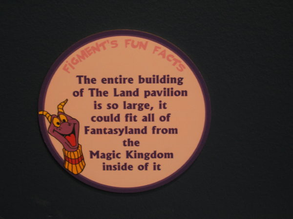"Figment says, ""The entire building of The Land pavilion is so large, it could fit all of Fantasyland from the Magic Kingdom inside of it."""