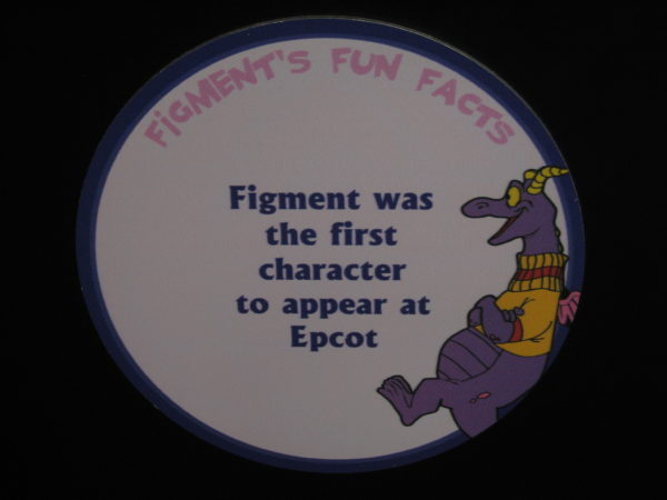 "Figment says, ""Figment was the first character to appear at Epcot."""