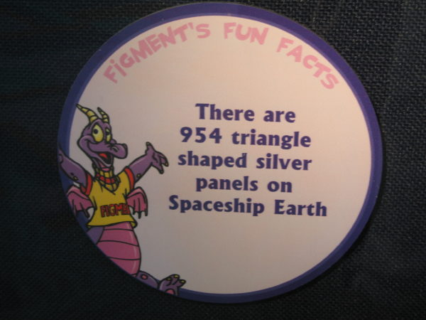 "Figment says, ""There are 954 triangle shaped silver panels on Spaceship Earth."""