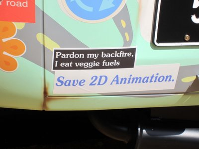He's got the best bumper stickers, like this one: Save 2D Animation.