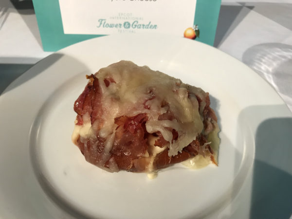 Toasted Pretzel Bread topped with Blackforest ham and melted gruyere cheese
