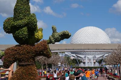 Mickey keeps his eye on Spaceship Earth.